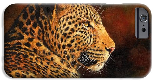 David iPhone Cases - Golden Leopard iPhone Case by David Stribbling