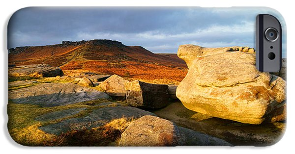 Wark iPhone Cases - Golden Light across Two Tors iPhone Case by Darren Galpin