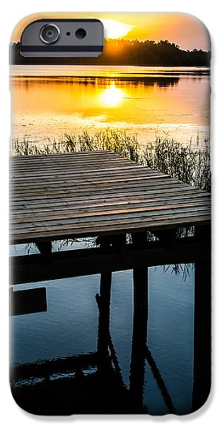 Sunset At The Lake iPhone Cases - Golden Light iPhone Case by Parker Cunningham