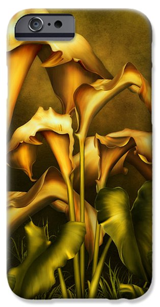 Realism Mixed Media iPhone Cases - Golden Lilies By Night iPhone Case by Georgiana Romanovna