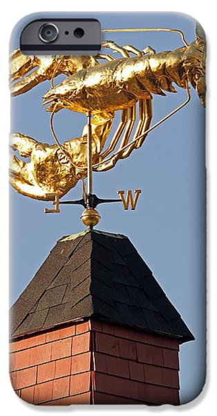 Weathervane Photographs iPhone Cases - Golden Lobster Weathervane iPhone Case by Juergen Roth