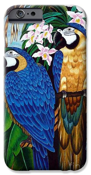 Birds Tapestries - Textiles iPhone Cases - Golden Macaw hand embroidery iPhone Case by To-Tam Gerwe