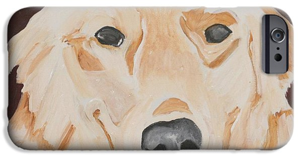 Dog Close-up Paintings iPhone Cases - Golden  iPhone Case by Meredith Brooks