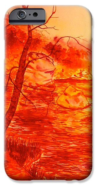 Dirty iPhone Cases - Golden Mountain Lake Morning  iPhone Case by Kendall Kessler