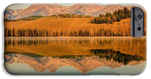 Haybale iPhone Cases - Golden Mountains  Reflection iPhone Case by Robert Bales