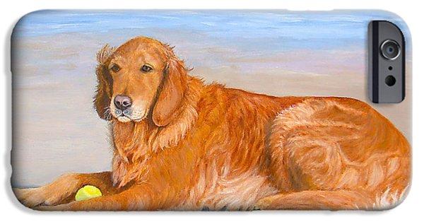 Dog And Tennis Ball iPhone Cases - Golden Murphy iPhone Case by Karen Zuk Rosenblatt