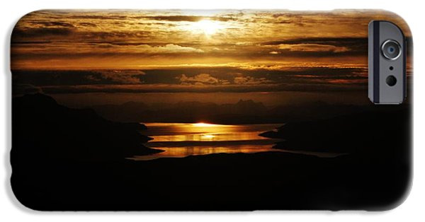 Norwegian Sunset iPhone Cases - Golden Norse Fjordland Sunset iPhone Case by David Broome