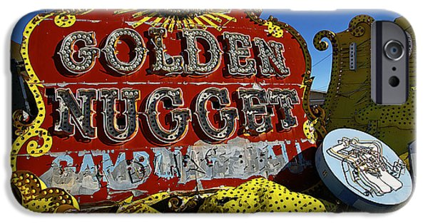 Junk Yard iPhone Cases - Golden Nugget Sign iPhone Case by Garry Gay