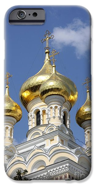 Built Structure iPhone Cases - Golden Onion Domes - Church Yalta iPhone Case by Christiane Schulze Art And Photography
