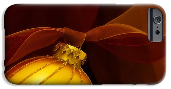 Christmas iPhone Cases - Golden Ornament with Red Ribbons iPhone Case by Carol Leigh