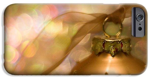 Christmas iPhone Cases - Golden Ornament with Ribbon iPhone Case by Carol Leigh