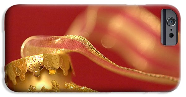 Christmas iPhone Cases - Golden Ornament with Striped Ribbon iPhone Case by Carol Leigh