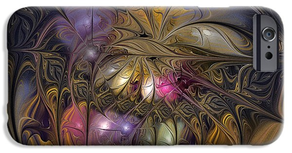 Digital Abstract Art iPhone Cases - Golden Ornamentations-Fractal Design iPhone Case by Karin Kuhlmann