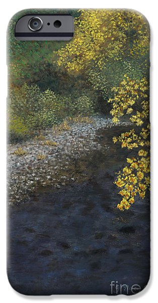 Creek Pastels iPhone Cases - Golden Overhang iPhone Case by Ginny Neece