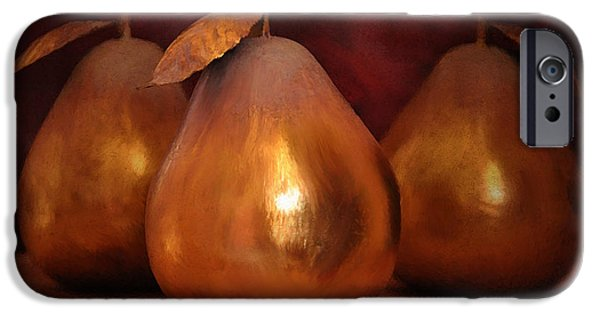 Looking Digital Art iPhone Cases - Golden Pears I iPhone Case by April Moen