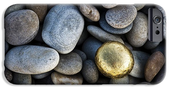 Pebbles iPhone Cases - Golden Pebble iPhone Case by Tim Gainey