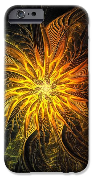 Floral Digital Art Digital Art Digital Art iPhone Cases - Golden Poinsettia iPhone Case by Amanda Moore