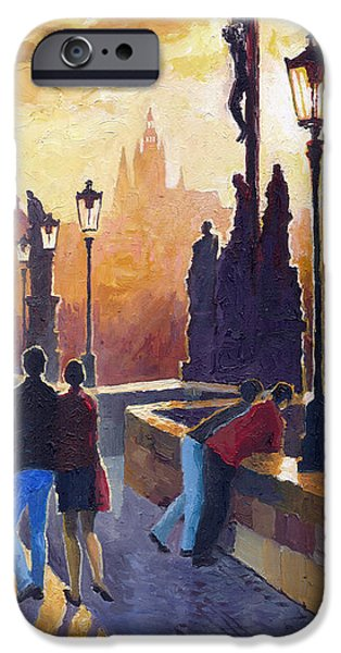 Oil On Canvas iPhone Cases - Golden Prague Charles Bridge iPhone Case by Yuriy Shevchuk
