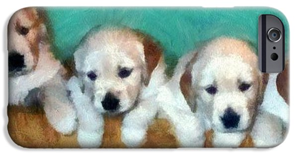 Puppy Digital Art iPhone Cases - Golden Puppies iPhone Case by Michelle Calkins