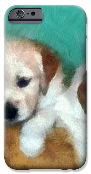 Golden Puppies iPhone Case by Michelle Calkins