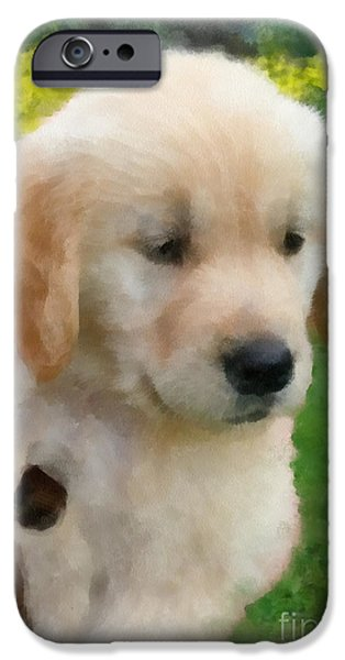 Fuzzy Golden Puppy iPhone Cases - Golden Puppy Owen iPhone Case by Betsy Cotton