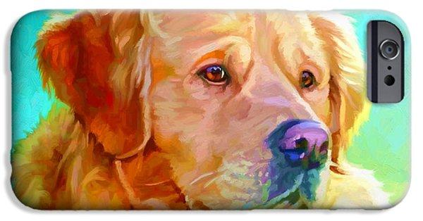 Cute Puppy Pictures Digital Art iPhone Cases - Golden Retriever Art iPhone Case by Iain McDonald