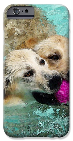 Golden Retriever Art - Let's Share iPhone Case by Sharon Cummings