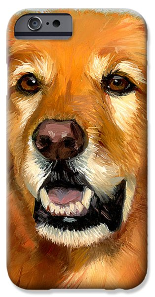 Golden Retriever Dog iPhone Case by Alice Leggett