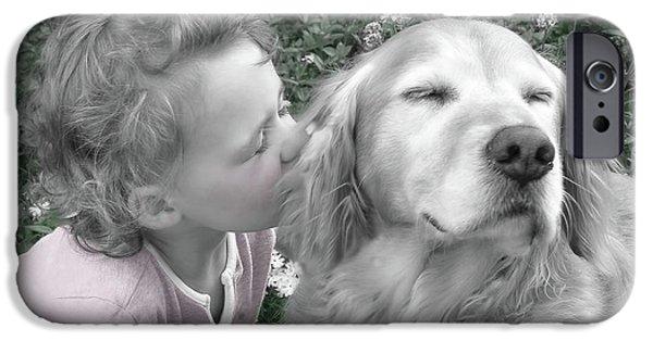 Little Girl iPhone Cases - Golden Retriever Dog Kiss from a Little Girl iPhone Case by Jennie Marie Schell