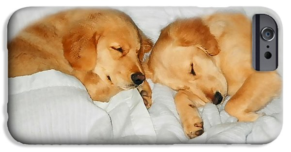 Rust Photographs iPhone Cases - Golden Retriever Dog Puppies Sleeping iPhone Case by Jennie Marie Schell