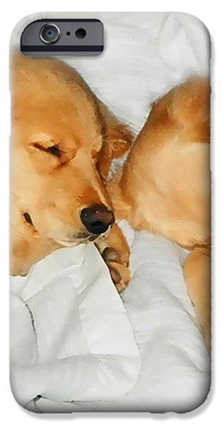 Golden Retriever Dog Puppies Sleeping iPhone Case by Jennie Marie Schell