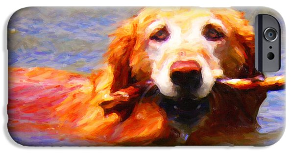 Fuzzy Golden Puppy iPhone Cases - Golden Retriever - Painterly iPhone Case by Wingsdomain Art and Photography