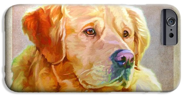 Cute Puppy Pictures Digital Art iPhone Cases - Golden Retriever Painting iPhone Case by Iain McDonald