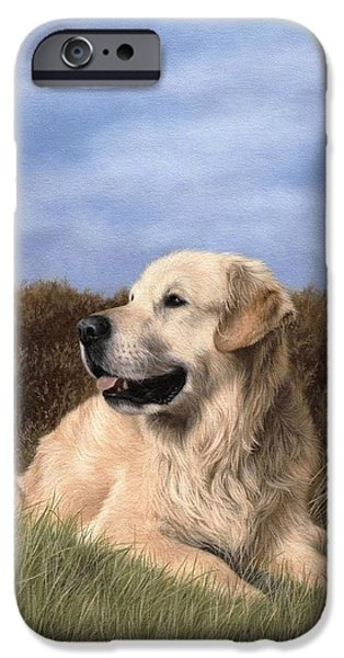 Dog Lovers iPhone Cases - Golden Retriever Painting iPhone Case by Rachel Stribbling
