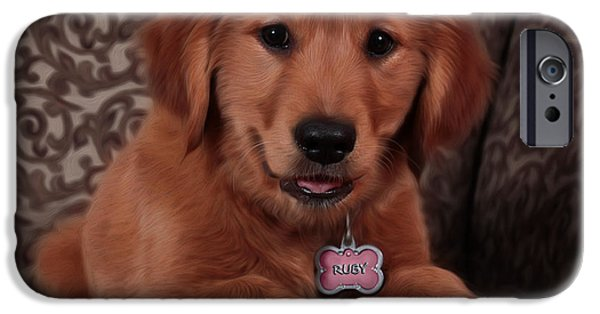 Golden Puppy iPhone Cases - Golden Retriever Puppy iPhone Case by Robyn Saunders