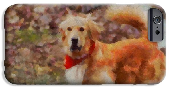Dog Mixed Media iPhone Cases - Golden Retriever Red Bandana iPhone Case by Dan Sproul