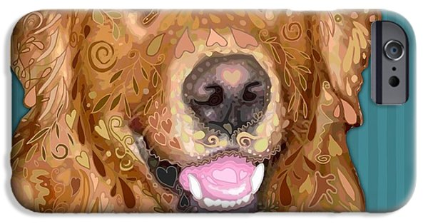 Recently Sold -  - Puppy Digital iPhone Cases - Golden Retriever iPhone Case by Sharon Marcella Marston