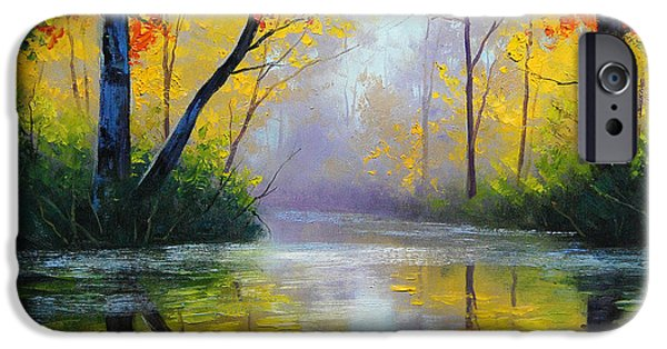 Autumn Woods iPhone Cases - Golden River iPhone Case by Graham Gercken