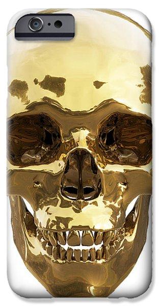 Old Digital iPhone Cases - Golden skull iPhone Case by Vitaliy Gladkiy