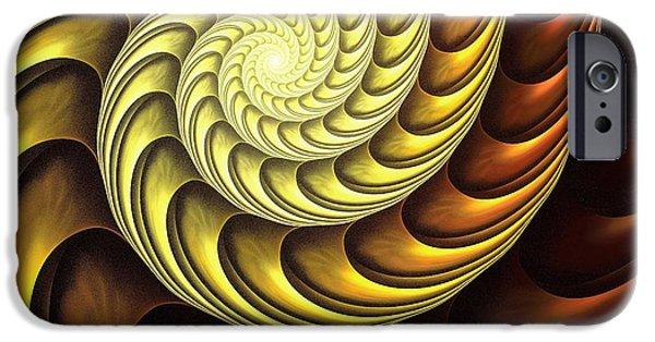 Gear Mixed Media iPhone Cases - Golden Spiral iPhone Case by Anastasiya Malakhova