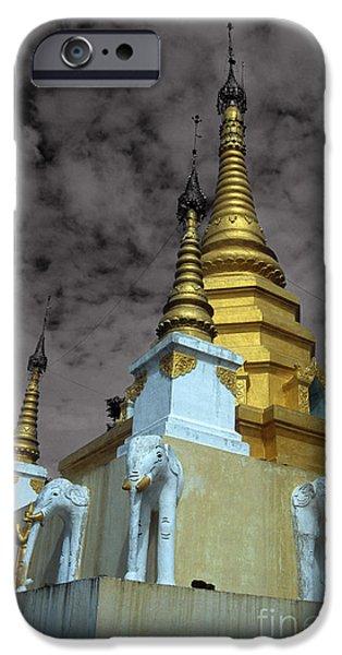Elephants iPhone Cases - Golden spires iPhone Case by James Brunker