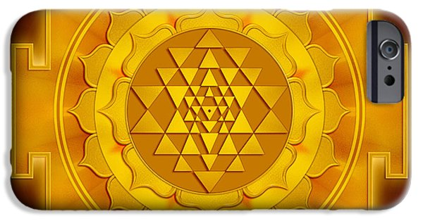 Hinduism iPhone Cases - Golden Sri Yantra iPhone Case by Dirk Czarnota
