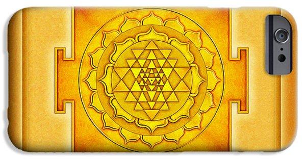 Energize iPhone Cases - Golden Sri Yantra I I I iPhone Case by Dirk Czarnota