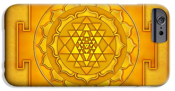 Hinduism iPhone Cases - Golden Sri Yantra II iPhone Case by Dirk Czarnota