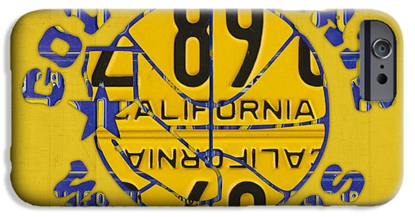Basketball Team iPhone Cases - Golden State Warriors Basketball Team Retro Logo Vintage Recycled California License Plate Art iPhone Case by Design Turnpike