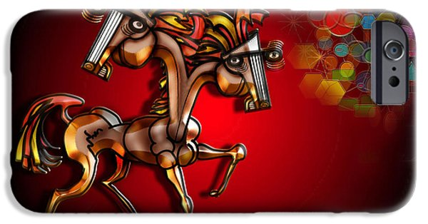 Bad Ass iPhone Cases - Golden Steed with 2 Heads and an Aura iPhone Case by Dean Gleisberg