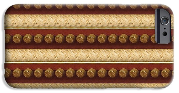 Diy iPhone Cases - Golden Strip and Vintage Knob Pattern Chinese Decorations iPhone Case by Navin Joshi