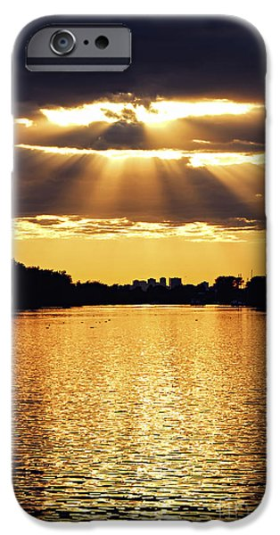 Reflecting Sunset iPhone Cases - Golden sunrays iPhone Case by Elena Elisseeva
