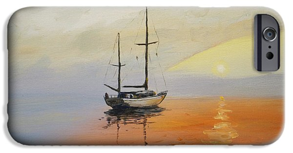 Ocean Sunset iPhone Cases - Golden Sunset iPhone Case by Alan Lakin