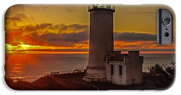 Cape Disappointment iPhone Cases - Golden Sunset at North Head Lighthouse iPhone Case by Robert Bales